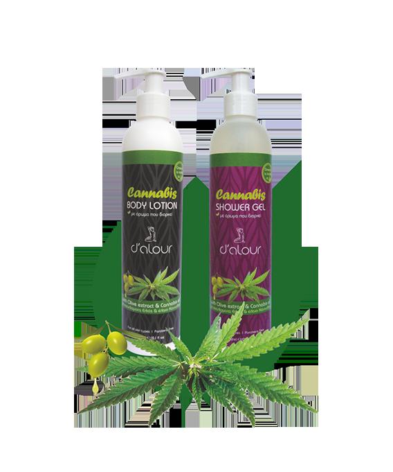 Body lotion & Shower gel Cannabis – Γαλάκτωμα σώματος & Shower gel με εκχύλισμα πράσινου τσαγιού & έλαιο κάνναβης