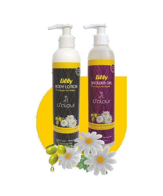 Body lotion & Shower gel Lilly – Γαλάκτωμα σώματος & αφρόλουτρο με εκχύλισμα χαμομηλιού